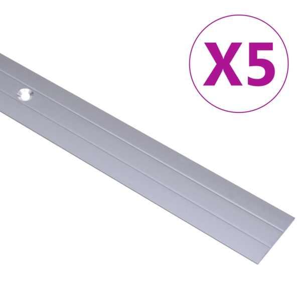 vidaXL Profile de pardoseală, 5 buc., argintiu, 90 cm, aluminiu