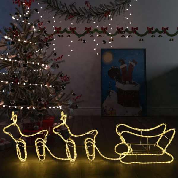 vidaXL Decorațiune de Crăciun cu reni și sanie, 576 leduri, exterior