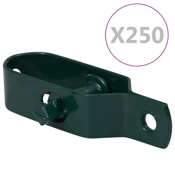 vidaXL Dispozitiv tensionare sârmă gard 250 buc. verde oțel 100 mm
