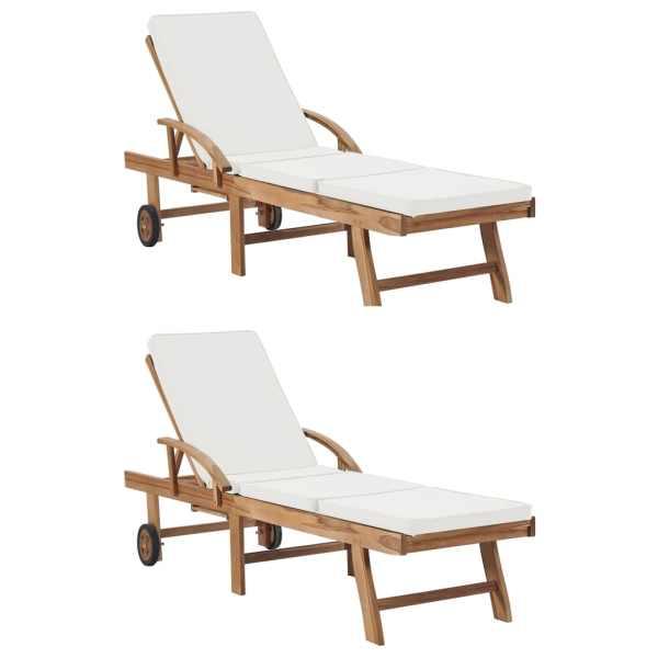 vidaXL Șezlonguri cu perne, 2 buc., crem, lemn masiv de tec
