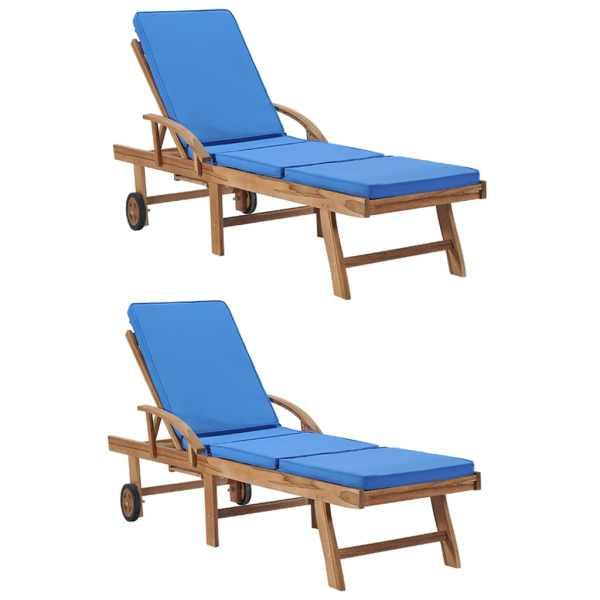 vidaXL Șezlonguri cu perne, 2 buc., albastru, lemn masiv de tec