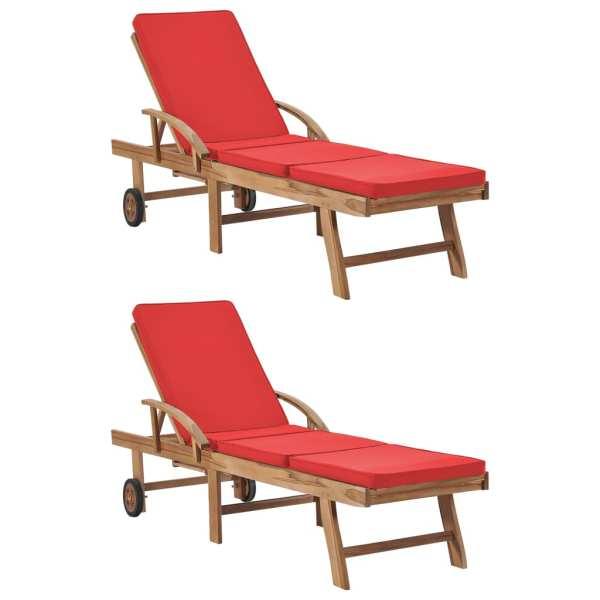 vidaXL Șezlonguri cu perne, 2 buc., roșu, lemn masiv de tec