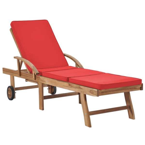Șezlonguri cu perne, 2 buc., roșu, lemn masiv de tec
