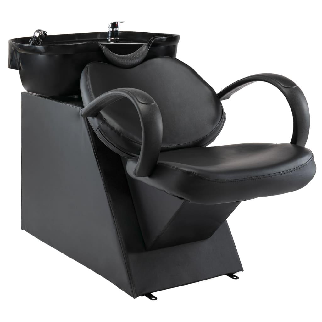vidaXL Scaun salon șamponare, cu lavoar, negru, piele ecologică