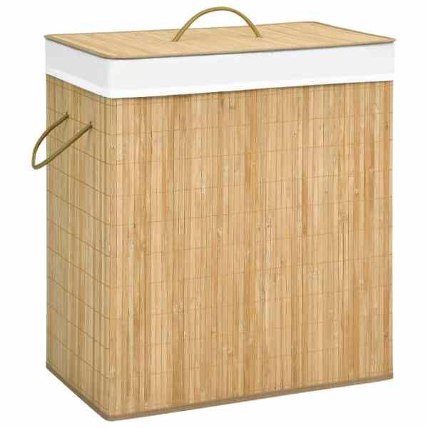 vidaXL Coș de rufe din bambus, 100 L