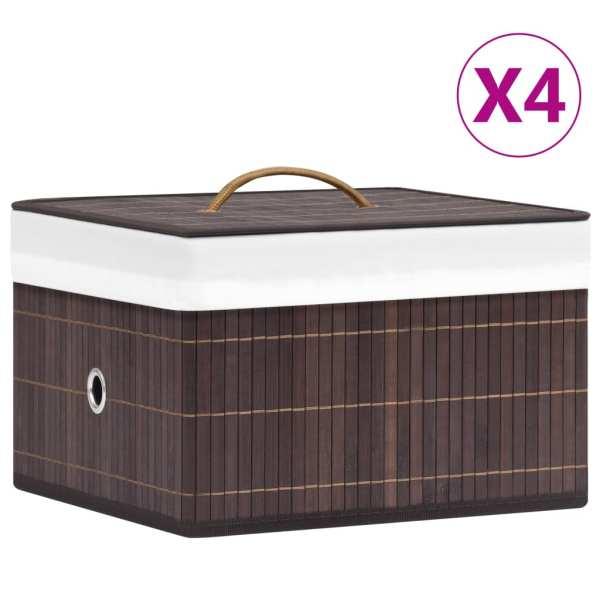 vidaXL Cutii de depozitare, 4 buc., maro, bambus