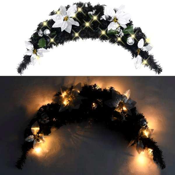 Arcadă de Crăciun cu lumini LED, negru, 90 cm, PVC