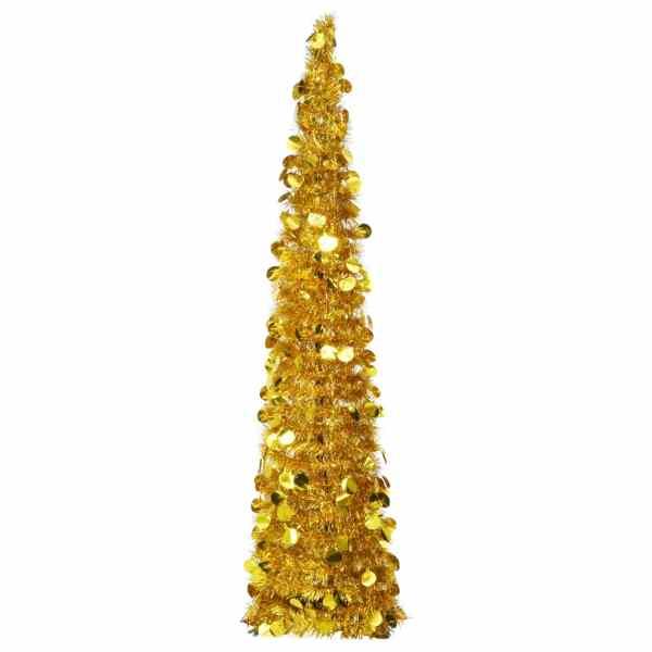 vidaXL Brad de Crăciun artificial tip pop-up, auriu, 150 cm, PET