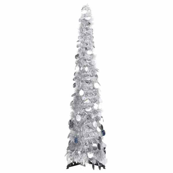 vidaXL Brad de Crăciun artificial tip pop-up, argintiu, 120 cm, PET