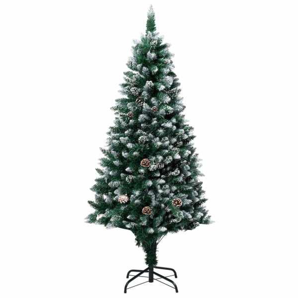 vidaXL Brad de Crăciun artificial cu conuri și zăpadă albă, 180 cm