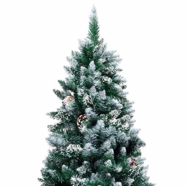 Brad de Crăciun artificial cu conuri și zăpadă albă, 240 cm