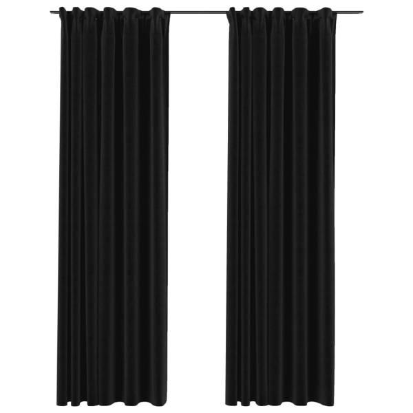 vidaXL Draperie opacă, aspect de in, antracit, 290 x 245 cm, cârlige