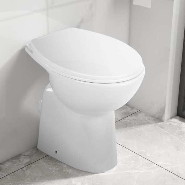 vidaXL Vas WC fără ramă, închidere silențioasă, + 7 cm, alb, ceramică