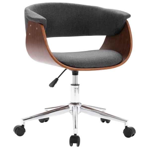 Scaun de birou pivotant, gri, lemn curbat și material textil