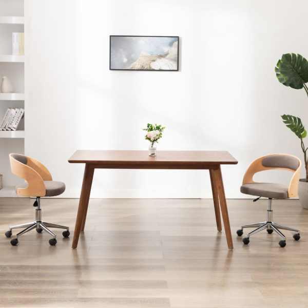 vidaXL Scaun de birou pivotant, gri taupe, lemn curbat și textil
