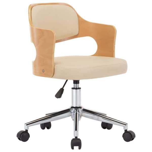 Scaun de birou pivotant, crem, lemn curbat și piele ecologică