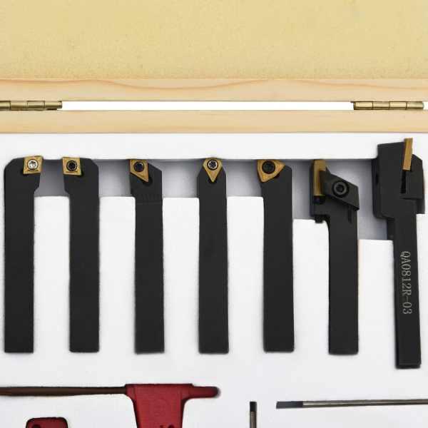 vidaXL Set unelte de strunjire indexabile, 12 piese, 8 x 8 mm, 60 mm