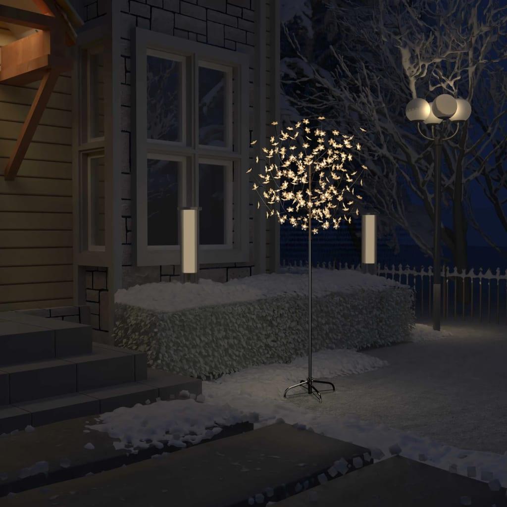 vidaXL Pom Crăciun, 200 LED-uri alb cald, flori de cireș, 180 cm