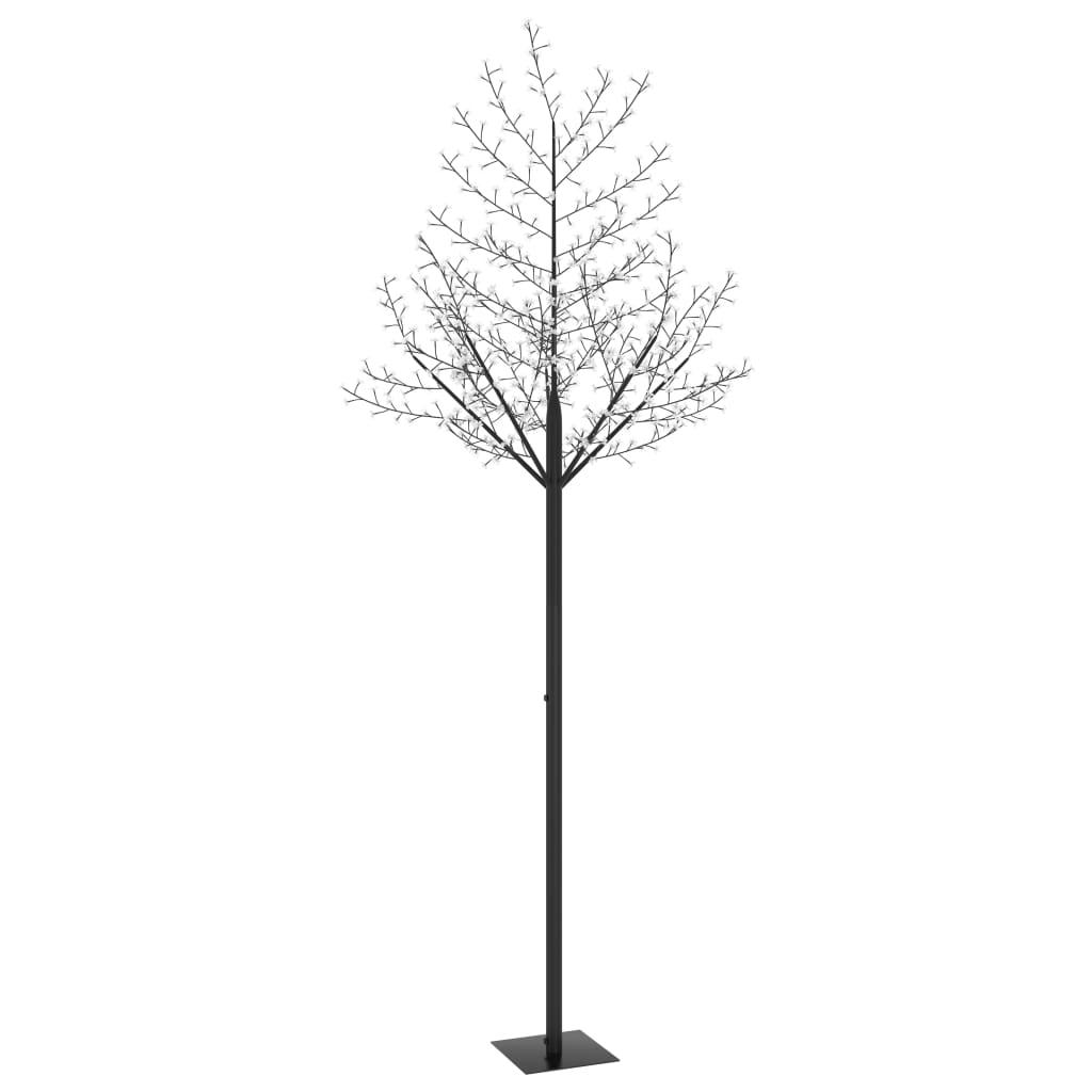 vidaXL Pom Crăciun, 600 LED-uri lumină albastră, flori de cireș 300 cm