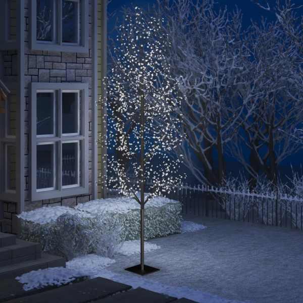 vidaXL Pom Crăciun, 1200 LED-uri alb rece, flori de cireș, 400 cm