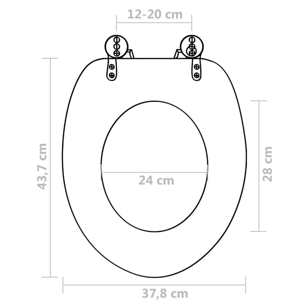 vidaXL Colac WC cu capac închidere silențioasă, MDF, design savană