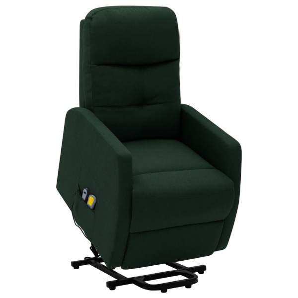 vidaXL Fotoliu de masaj rabatabil cu ridicare, verde închis, textil