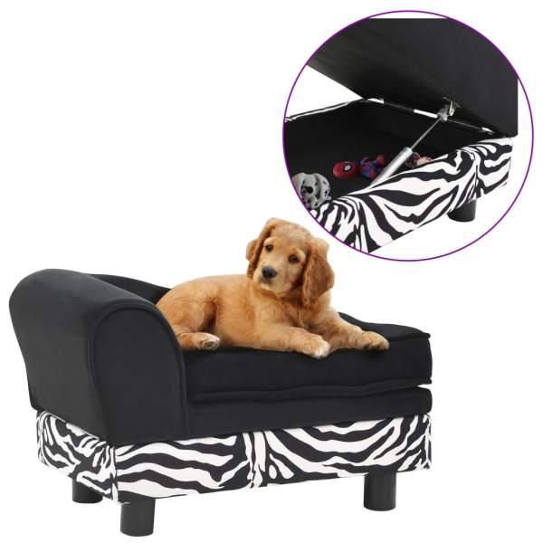 vidaXL Canapea pentru câini, negru, 57x34x36 cm, pluș