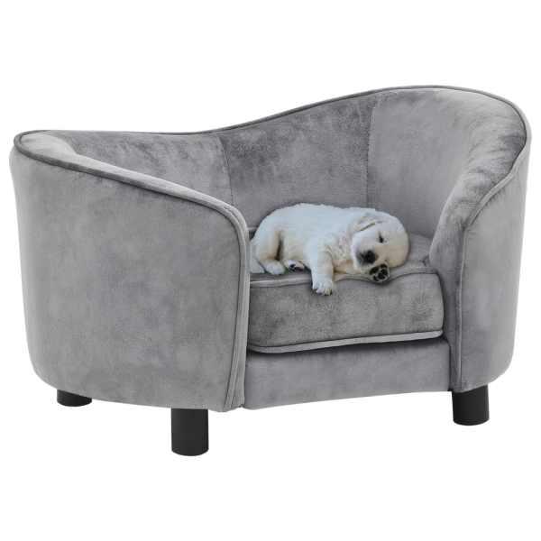 vidaXL Canapea pentru câini, gri, 69 x 49 x 40 cm, pluș