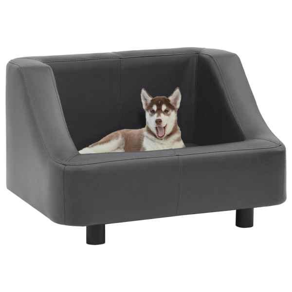 vidaXL Canapea pentru câini, gri, 67 x 52 x 40 cm, piele ecologică