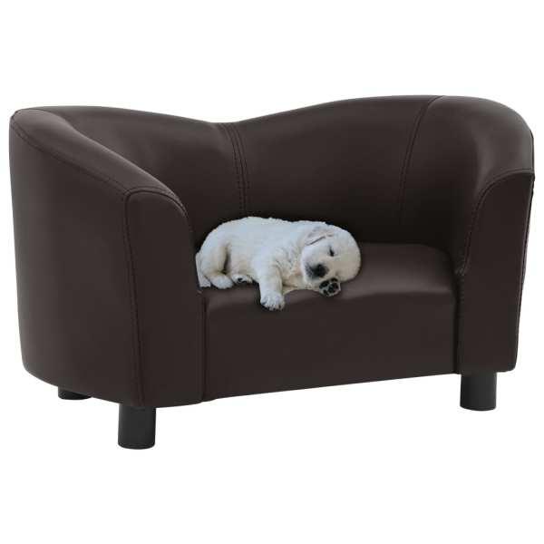 vidaXL Canapea pentru câini, maro, 67x41x39 cm, piele ecologică