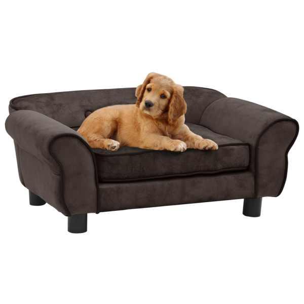 vidaXL Canapea pentru câini, maro, 72 x 45 x 30 cm, pluș