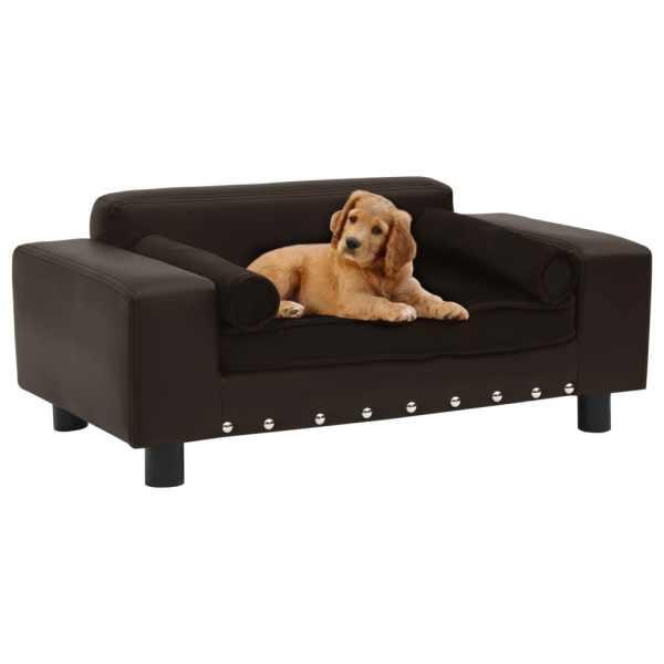 vidaXL Canapea pentru câini, maro, 81x43x31cm, pluș & piele ecologică