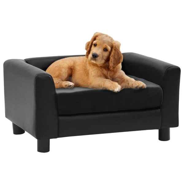 vidaXL Canapea pentru câini, negru, 60x43x30 cm pluș & piele ecologică