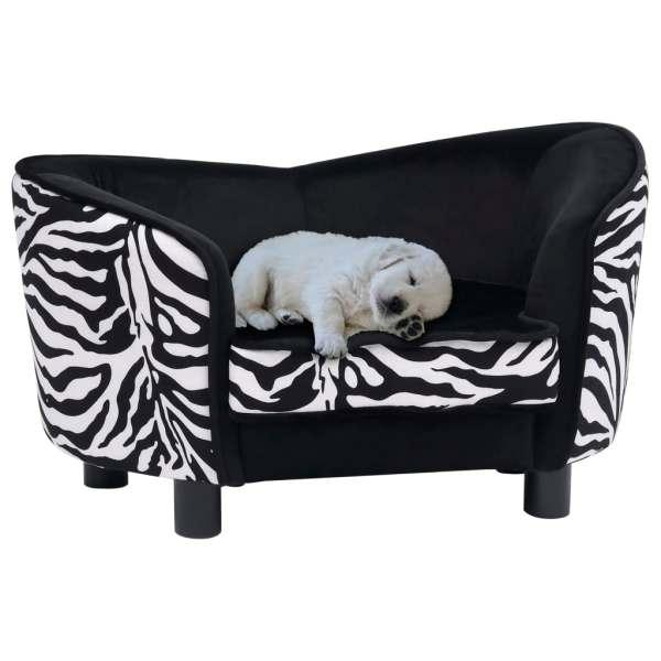 vidaXL Canapea pentru câini, negru, 68 x 38 x 38 cm, pluș