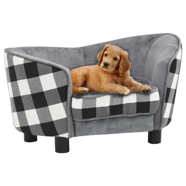 vidaXL Canapea pentru câini, gri, 68 x 38 x 38 cm, pluș