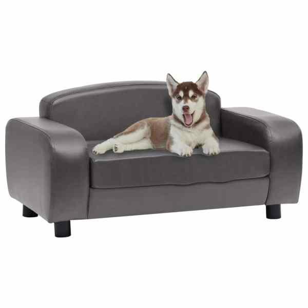 vidaXL Canapea pentru câini, gri, 80 x 50 x 40 cm, piele ecologică
