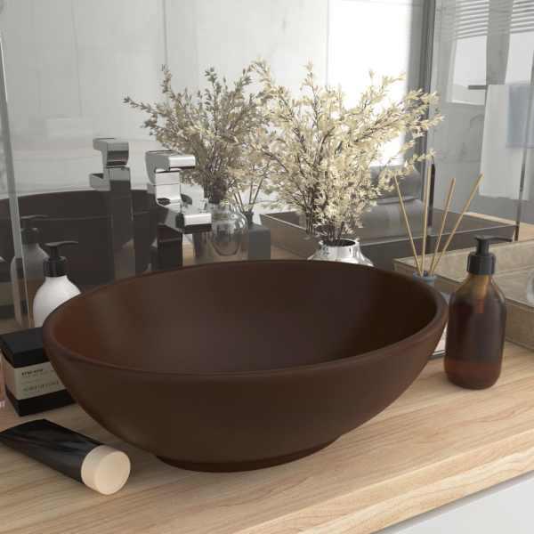 vidaXL Chiuvetă de lux, maro mat, 40 x 33 cm, ceramică, formă ovală