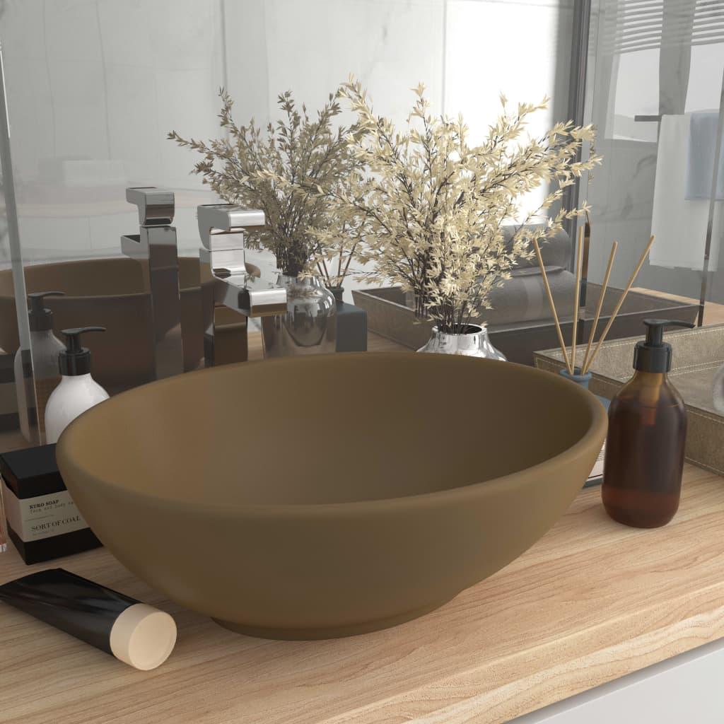 vidaXL Chiuvetă de lux, crem mat, 40 x 33 cm, ceramică, formă ovală