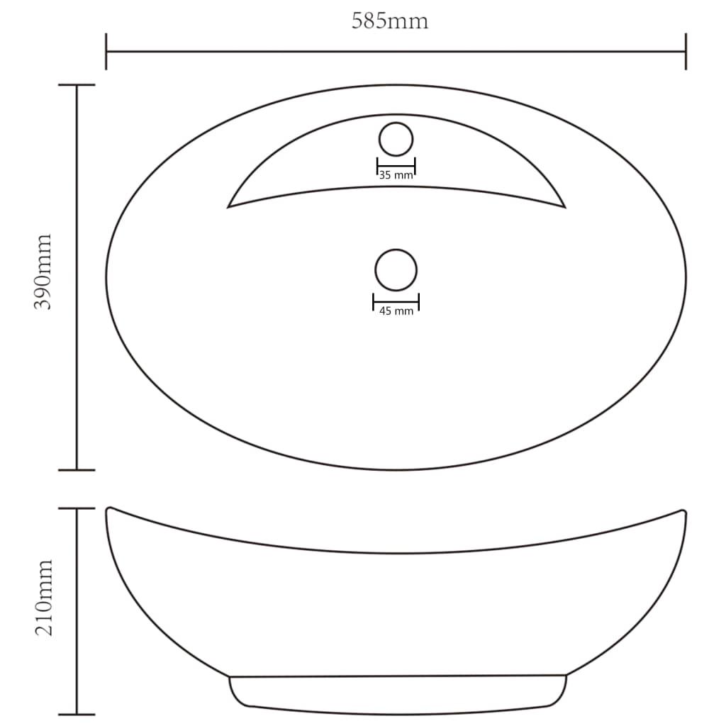 Chiuvetă lux cu preaplin, roz mat, 58,5×39 cm ceramică, oval