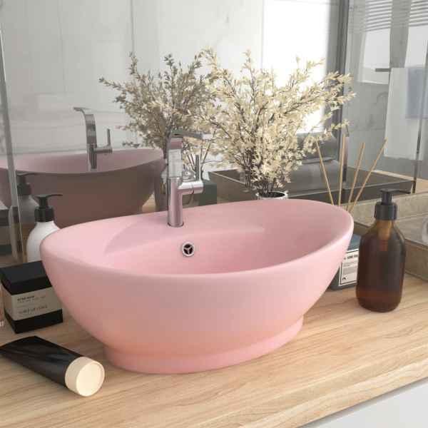 vidaXL Chiuvetă lux cu preaplin, roz mat, 58,5×39 cm ceramică, oval