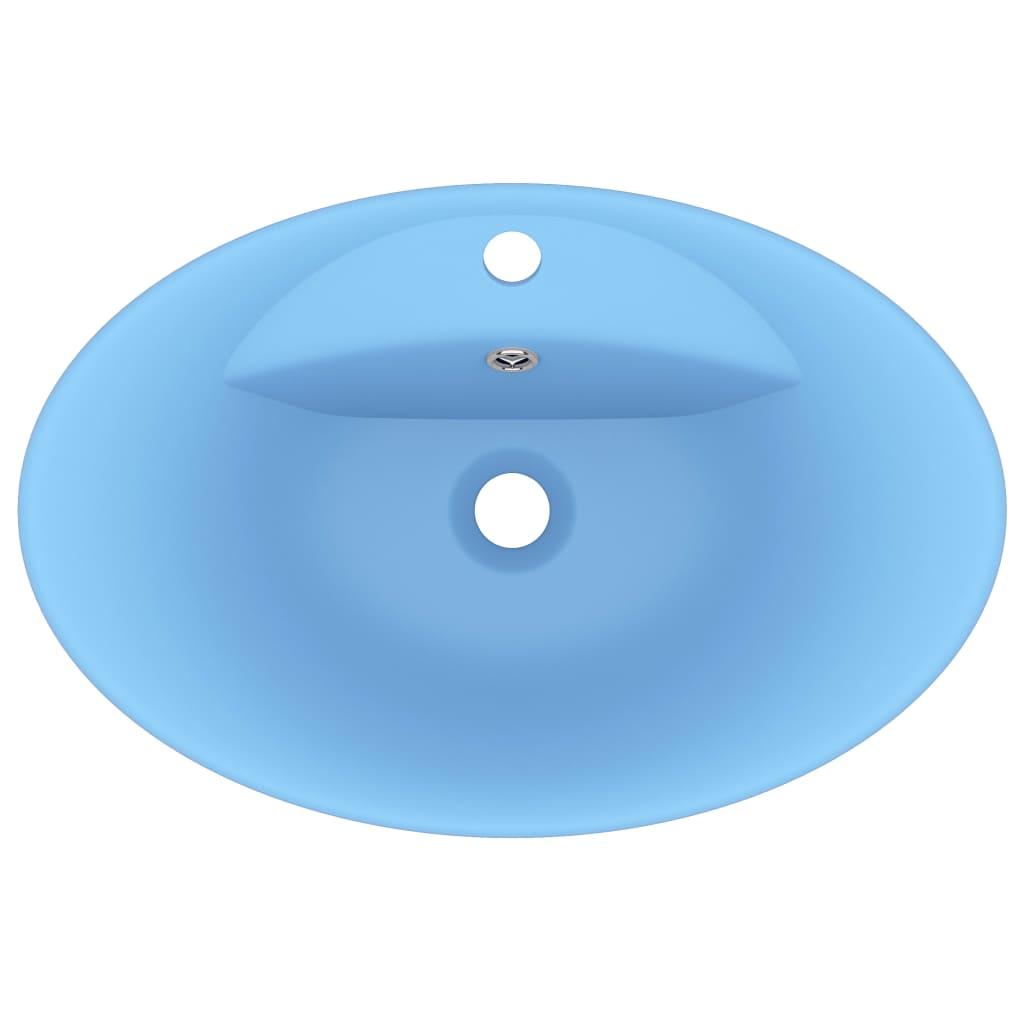 Chiuvetă lux cu preaplin, bleu mat, 58,5×39 cm, ceramică, oval