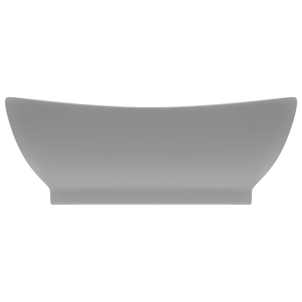 Chiuvetă lux cu preaplin gri deschis mat 58,5x39cm ceramic oval