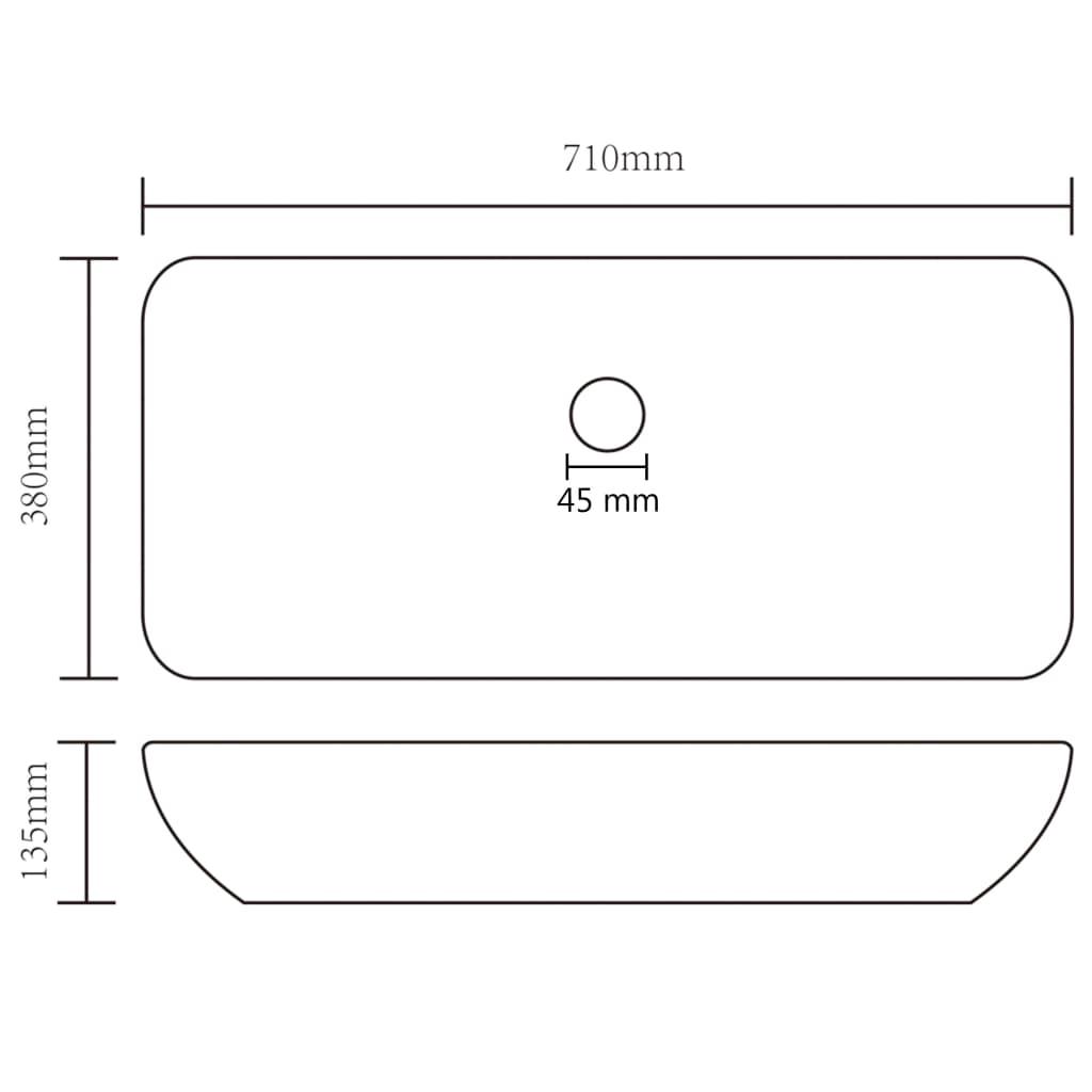 vidaXL Chiuvetă dreptunghiulară de lux, crem mat, 71×38 cm, ceramică