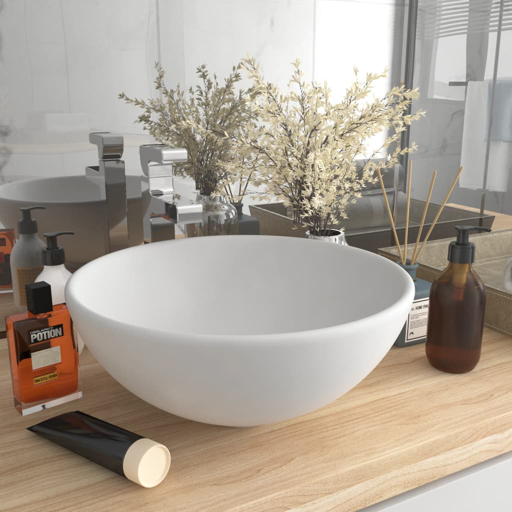 vidaXL Chiuvetă baie lux, alb mat, 32,5×14 cm, ceramică, rotund