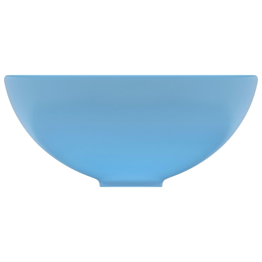 vidaXL Chiuvetă baie lux albastru mat 32,5×14 cm ceramică rotund