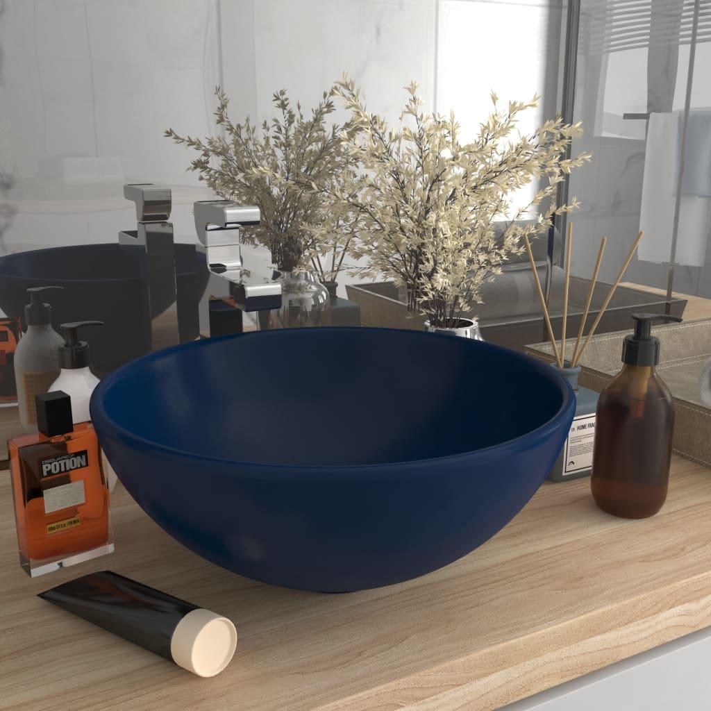 vidaXL Chiuvetă baie lux albastru închis mat 32,5x14cm ceramică rotund