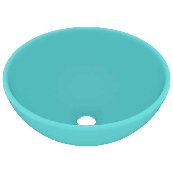 vidaXL Chiuvetă baie lux verde deschis mat 32,5×14 cm ceramică rotund