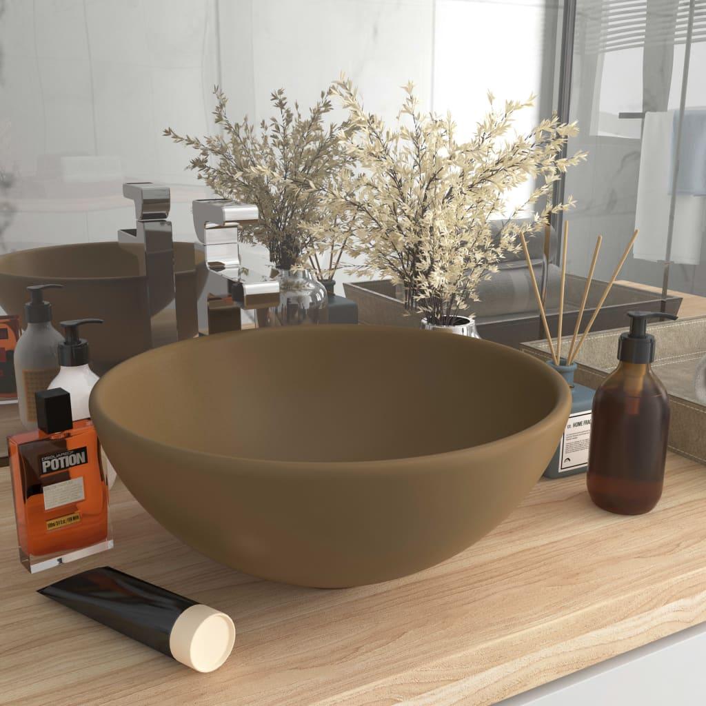 vidaXL Chiuvetă baie lux, crem mat, 32,5×14 cm, ceramică, rotund