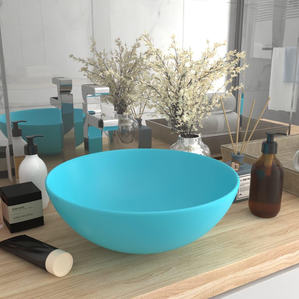 vidaXL Chiuvetă de baie, verde deschis, ceramică, rotund