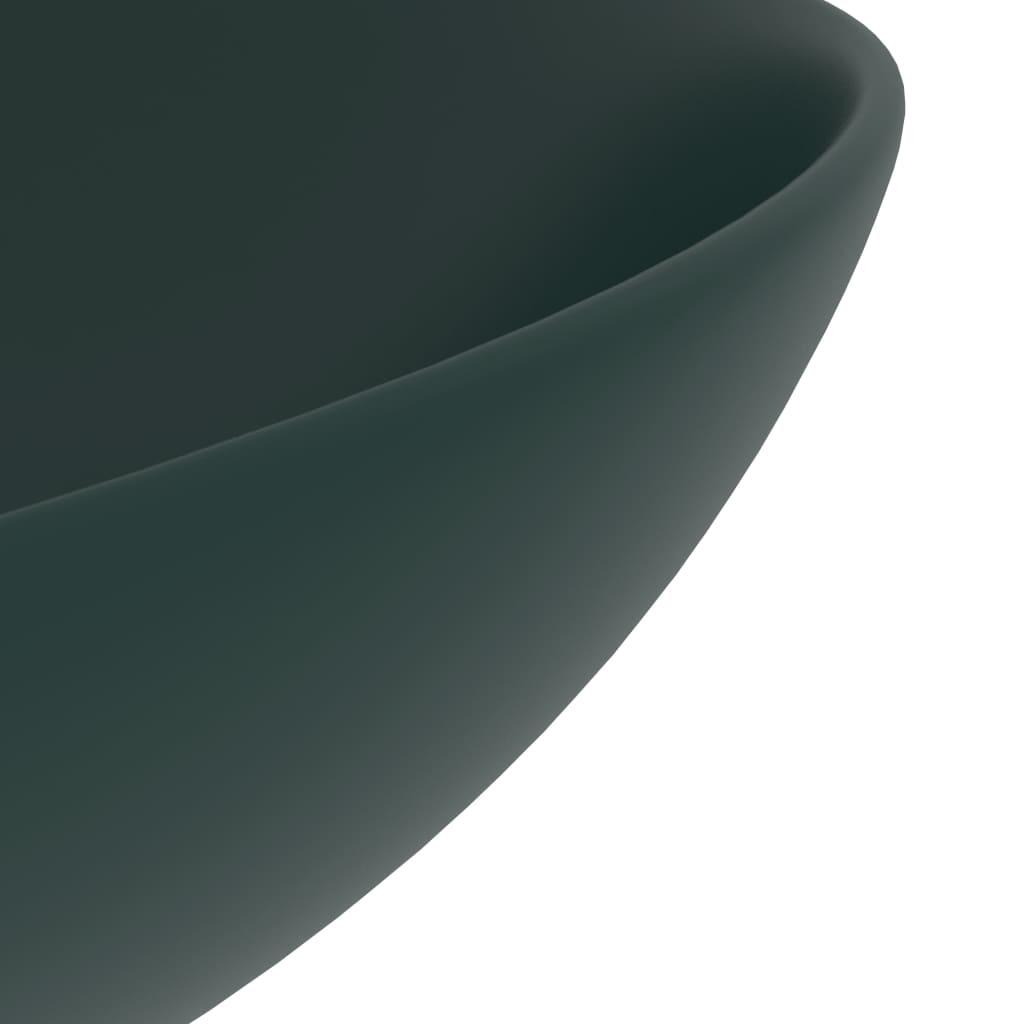 Chiuvetă de baie, verde închis, ceramică, rotund